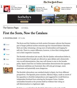 Editorial New York Times 13 d'octubre 2014